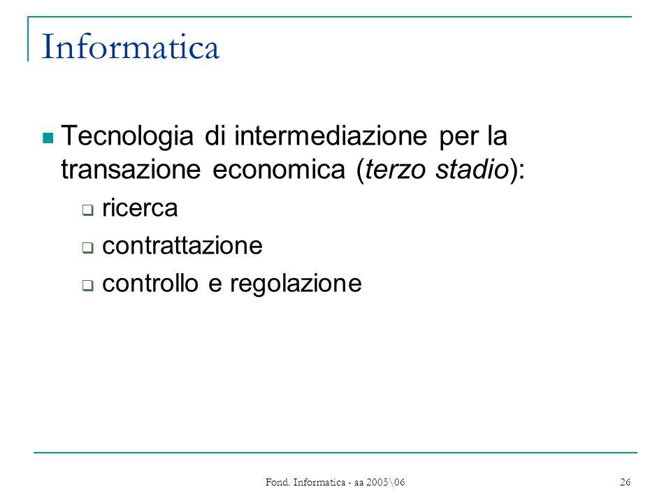 Fond. Informatica - aa 2005\06 26 Informatica Tecnologia di intermediazione per la transazione economica (terzo stadio): ricerca contrattazione contro