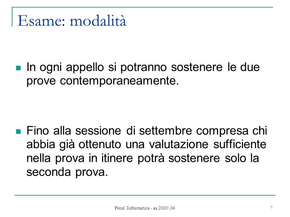 Fond. Informatica - aa 2005\06 7 Esame: modalità In ogni appello si potranno sostenere le due prove contemporaneamente. Fino alla sessione di settembr