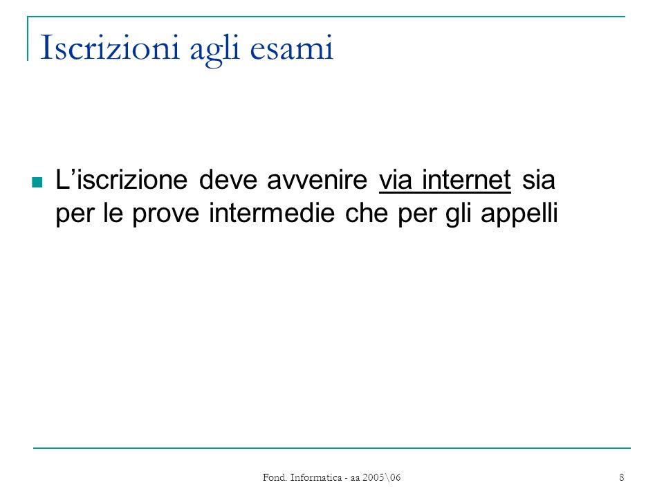 Fond. Informatica - aa 2005\06 8 Iscrizioni agli esami Liscrizione deve avvenire via internet sia per le prove intermedie che per gli appelli