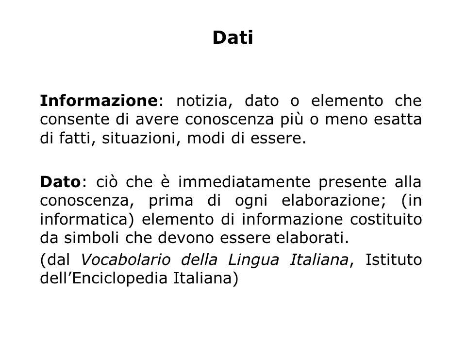 Informazione: notizia, dato o elemento che consente di avere conoscenza più o meno esatta di fatti, situazioni, modi di essere.