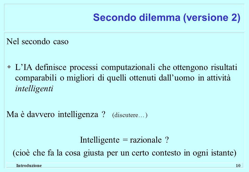 Introduzione 10 Secondo dilemma (versione 2) Nel secondo caso LIA definisce processi computazionali che ottengono risultati comparabili o migliori di