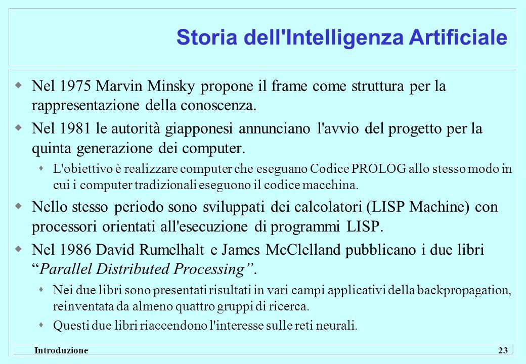 Introduzione 23 Storia dell'Intelligenza Artificiale Nel 1975 Marvin Minsky propone il frame come struttura per la rappresentazione della conoscenza.