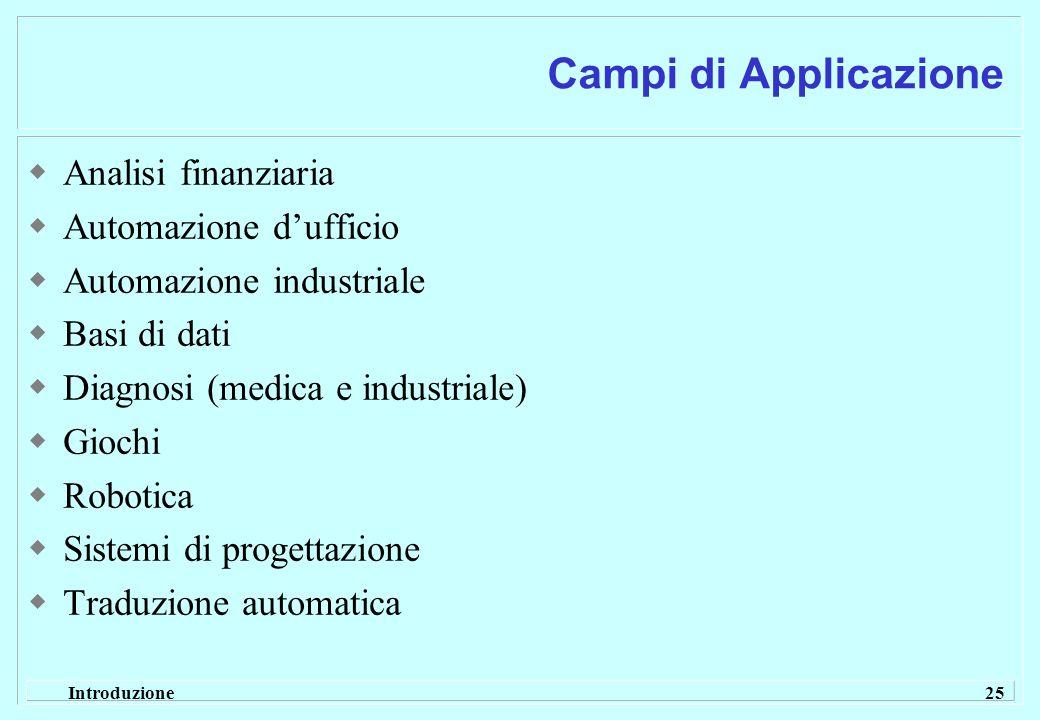 Introduzione 25 Campi di Applicazione Analisi finanziaria Automazione dufficio Automazione industriale Basi di dati Diagnosi (medica e industriale) Gi