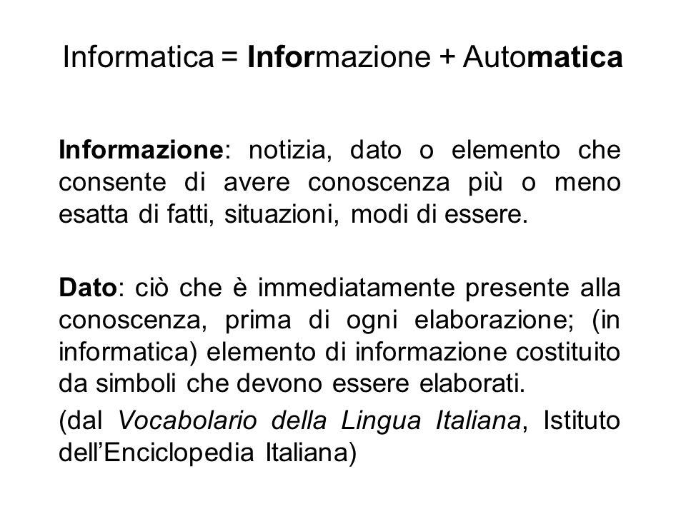 Informazione: notizia, dato o elemento che consente di avere conoscenza più o meno esatta di fatti, situazioni, modi di essere. Dato: ciò che è immedi