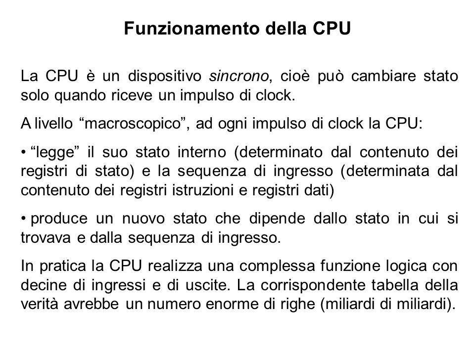 Funzionamento della CPU La CPU è un dispositivo sincrono, cioè può cambiare stato solo quando riceve un impulso di clock. A livello macroscopico, ad o