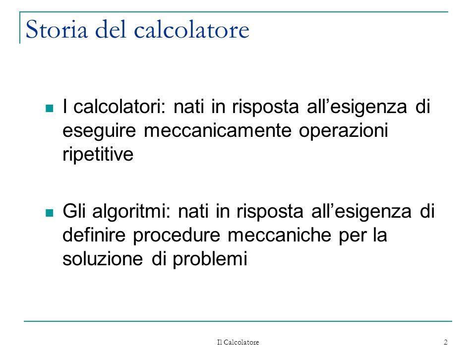 Il Calcolatore 2 Storia del calcolatore I calcolatori: nati in risposta allesigenza di eseguire meccanicamente operazioni ripetitive Gli algoritmi: nati in risposta allesigenza di definire procedure meccaniche per la soluzione di problemi