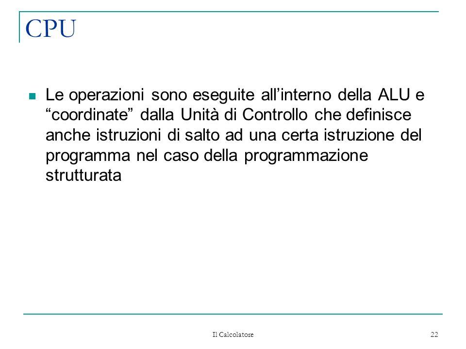 Il Calcolatore 22 CPU Le operazioni sono eseguite allinterno della ALU e coordinate dalla Unità di Controllo che definisce anche istruzioni di salto ad una certa istruzione del programma nel caso della programmazione strutturata