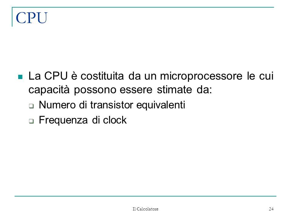 Il Calcolatore 24 CPU La CPU è costituita da un microprocessore le cui capacità possono essere stimate da: Numero di transistor equivalenti Frequenza di clock