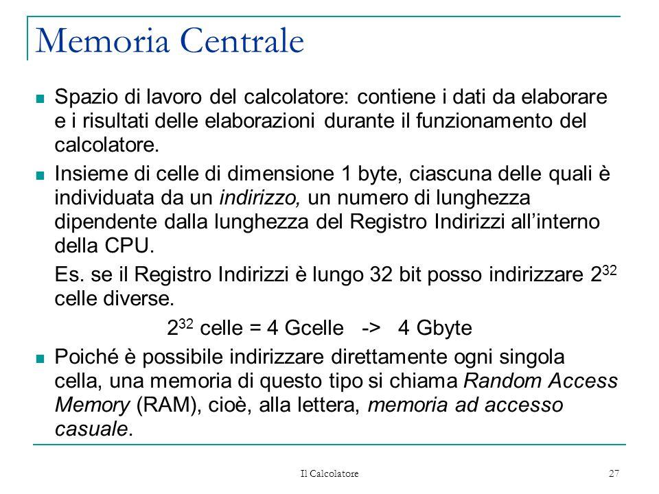 Il Calcolatore 27 Memoria Centrale Spazio di lavoro del calcolatore: contiene i dati da elaborare e i risultati delle elaborazioni durante il funzionamento del calcolatore.