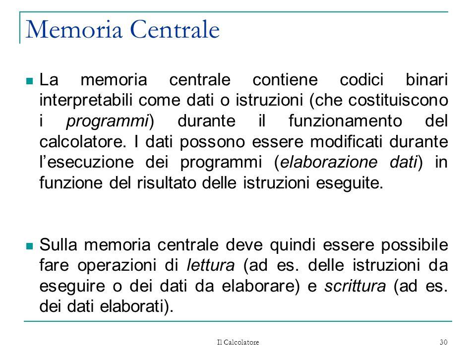 Il Calcolatore 30 Memoria Centrale La memoria centrale contiene codici binari interpretabili come dati o istruzioni (che costituiscono i programmi) durante il funzionamento del calcolatore.