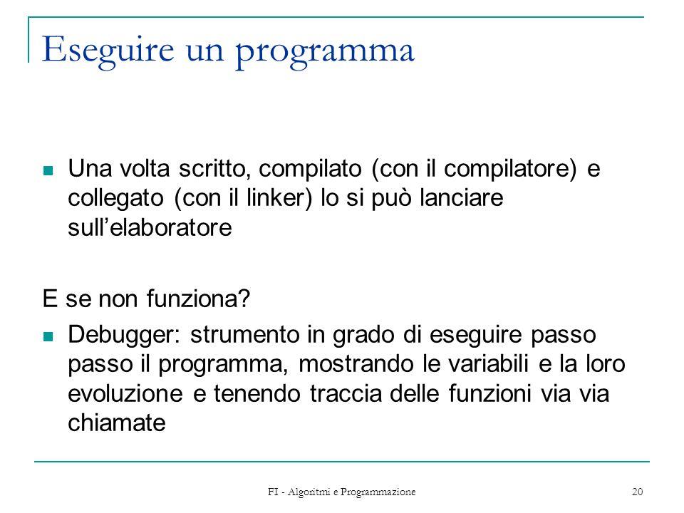 FI - Algoritmi e Programmazione 20 Eseguire un programma Una volta scritto, compilato (con il compilatore) e collegato (con il linker) lo si può lanciare sullelaboratore E se non funziona.