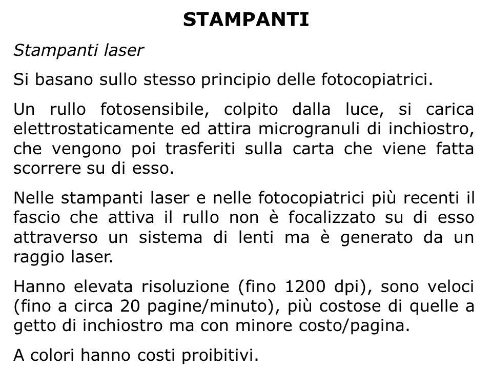STAMPANTI Stampanti laser Si basano sullo stesso principio delle fotocopiatrici. Un rullo fotosensibile, colpito dalla luce, si carica elettrostaticam