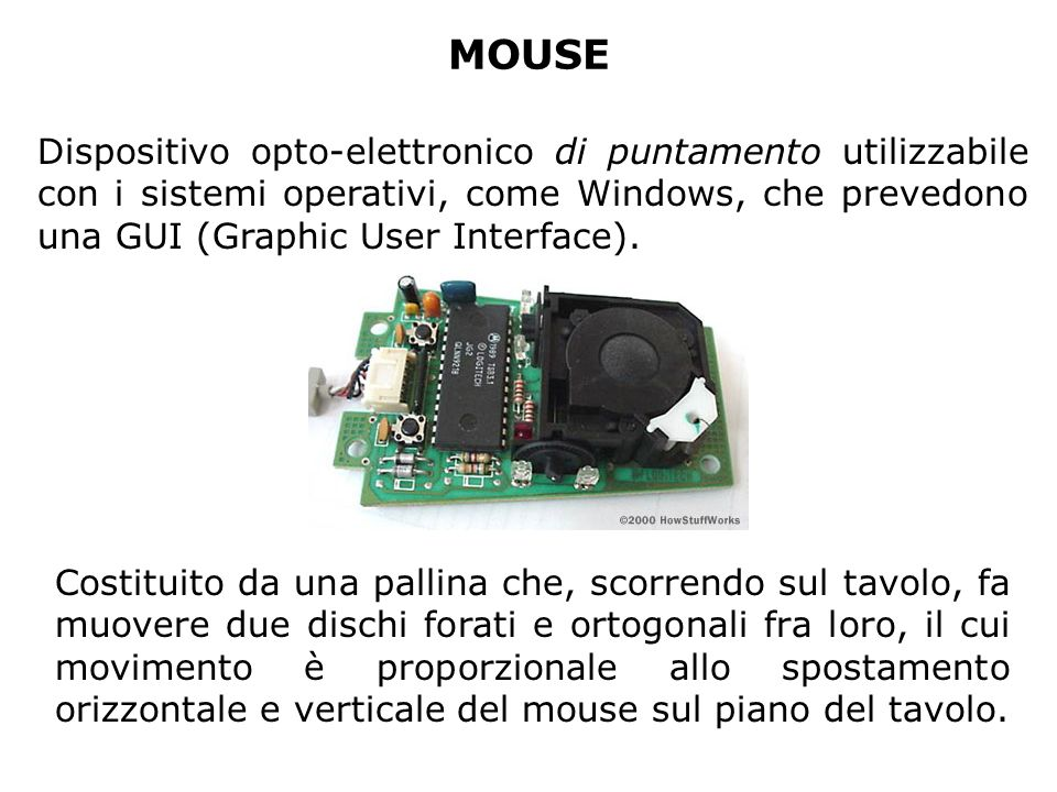 MOUSE Dispositivo opto-elettronico di puntamento utilizzabile con i sistemi operativi, come Windows, che prevedono una GUI (Graphic User Interface).