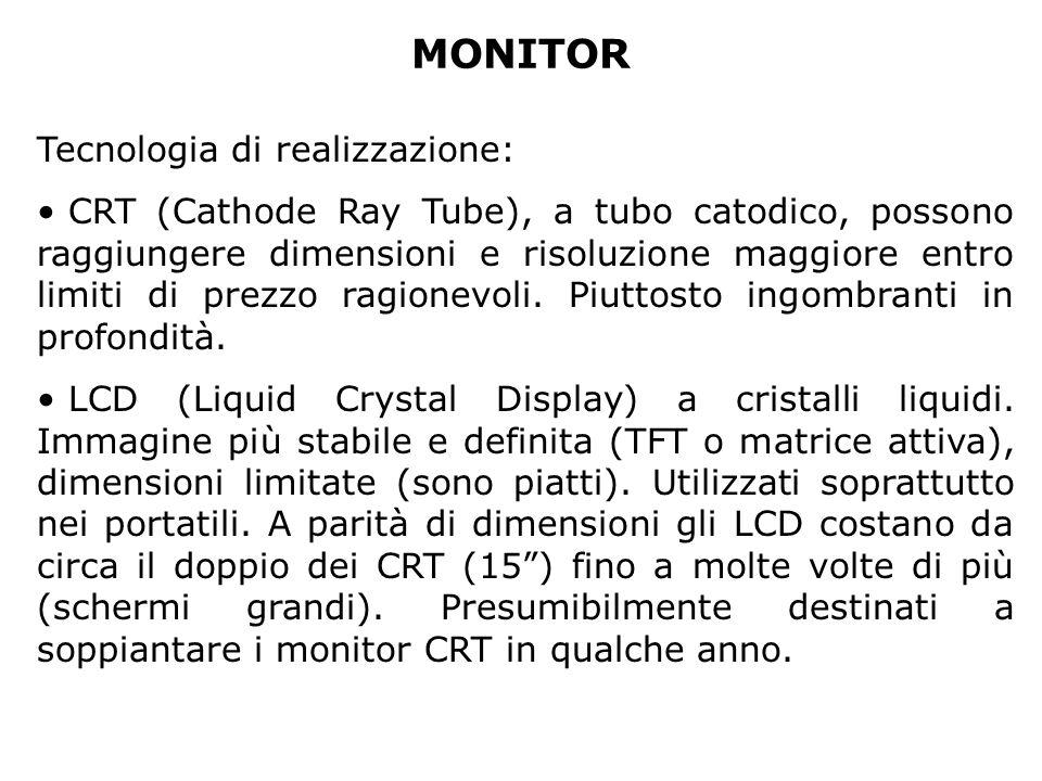 MONITOR Tecnologia di realizzazione: CRT (Cathode Ray Tube), a tubo catodico, possono raggiungere dimensioni e risoluzione maggiore entro limiti di pr