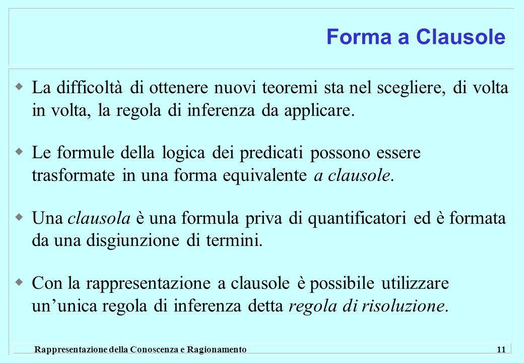 Rappresentazione della Conoscenza e Ragionamento 11 Forma a Clausole La difficoltà di ottenere nuovi teoremi sta nel scegliere, di volta in volta, la