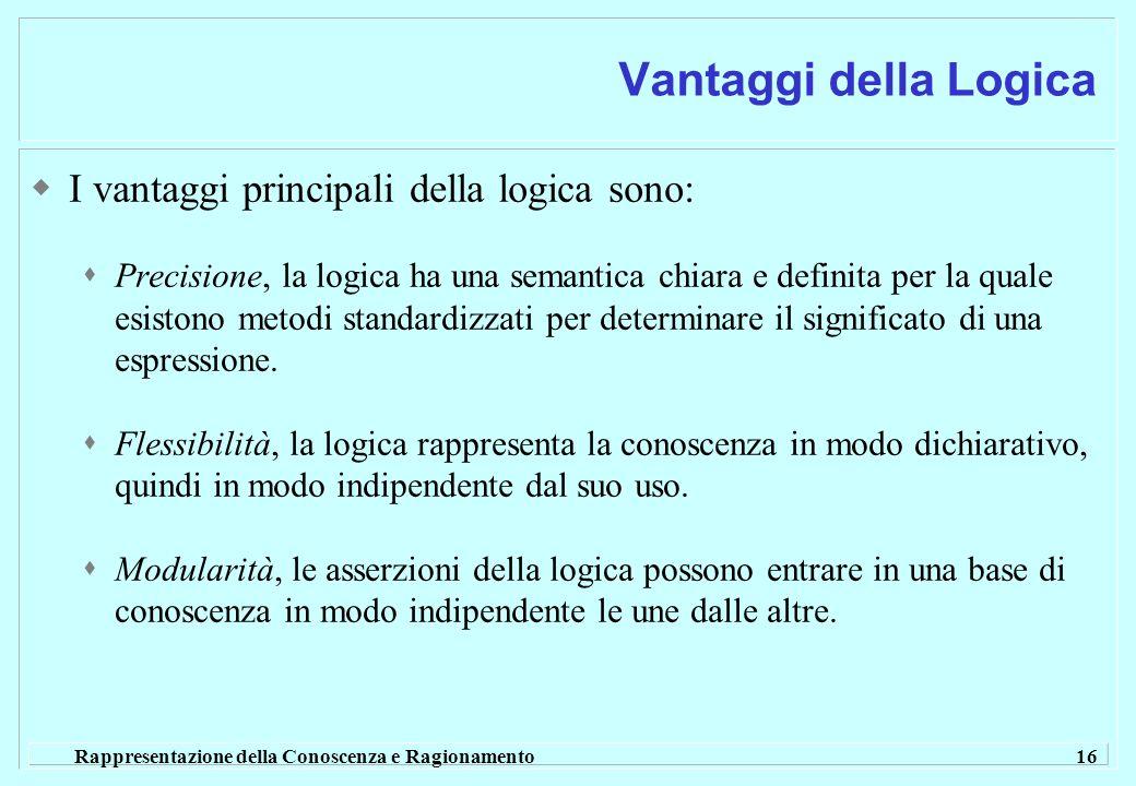 Rappresentazione della Conoscenza e Ragionamento 16 Vantaggi della Logica I vantaggi principali della logica sono: Precisione, la logica ha una semant
