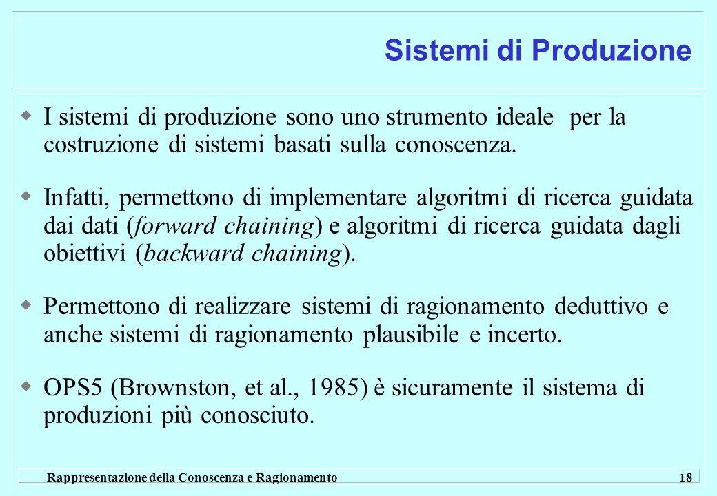 Rappresentazione della Conoscenza e Ragionamento 18 Sistemi di Produzione I sistemi di produzione sono uno strumento ideale per la costruzione di sist