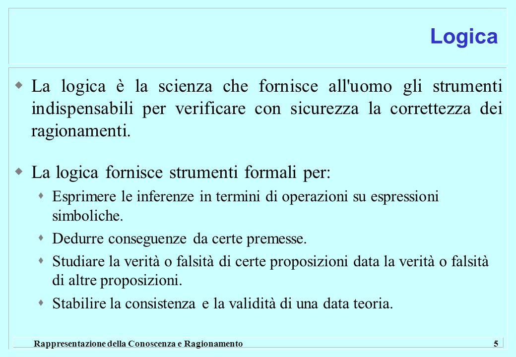 Rappresentazione della Conoscenza e Ragionamento 5 Logica La logica è la scienza che fornisce all'uomo gli strumenti indispensabili per verificare con