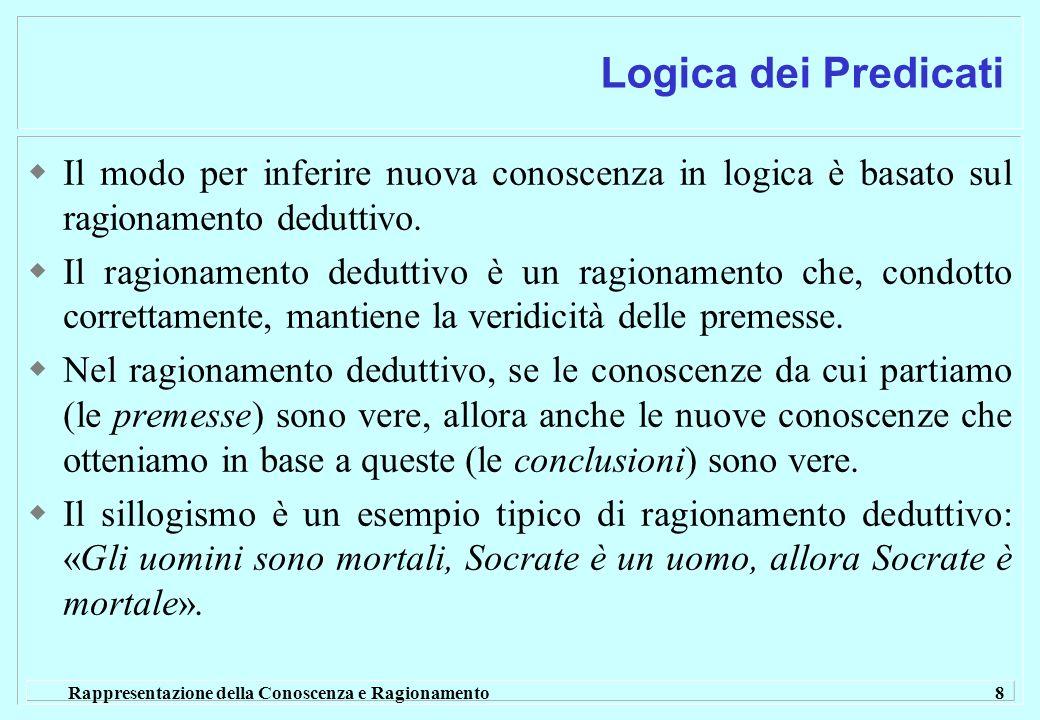 Rappresentazione della Conoscenza e Ragionamento 8 Logica dei Predicati Il modo per inferire nuova conoscenza in logica è basato sul ragionamento dedu