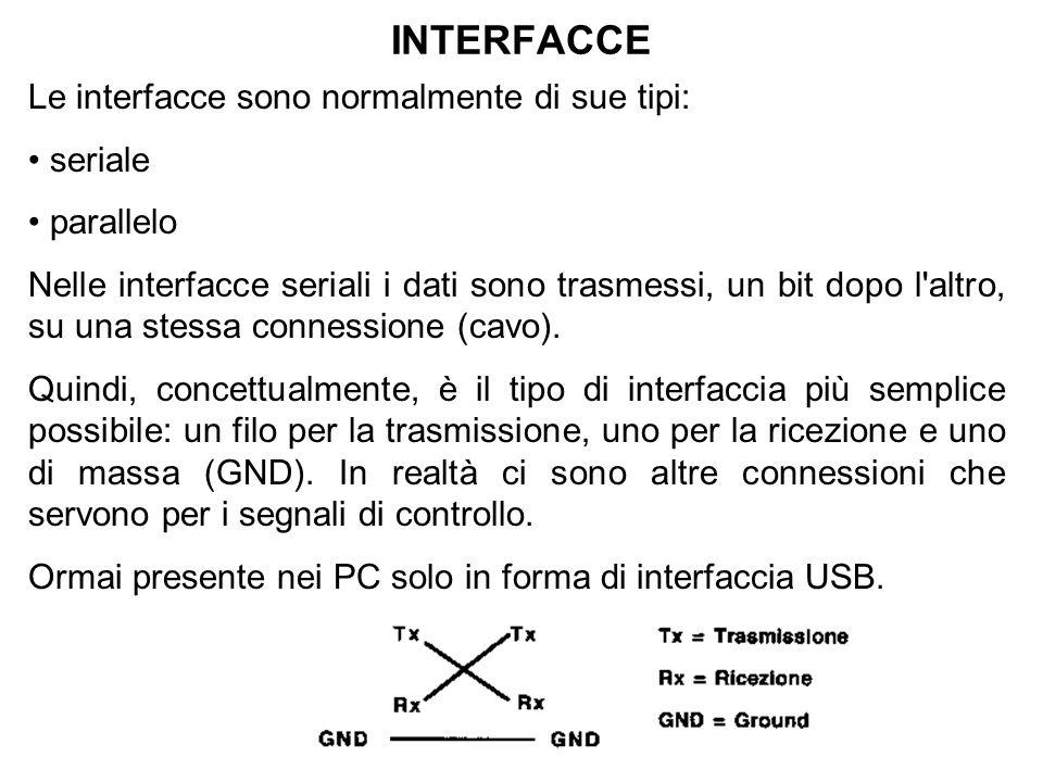 INTERFACCE Le interfacce sono normalmente di sue tipi: seriale parallelo Nelle interfacce seriali i dati sono trasmessi, un bit dopo l altro, su una stessa connessione (cavo).