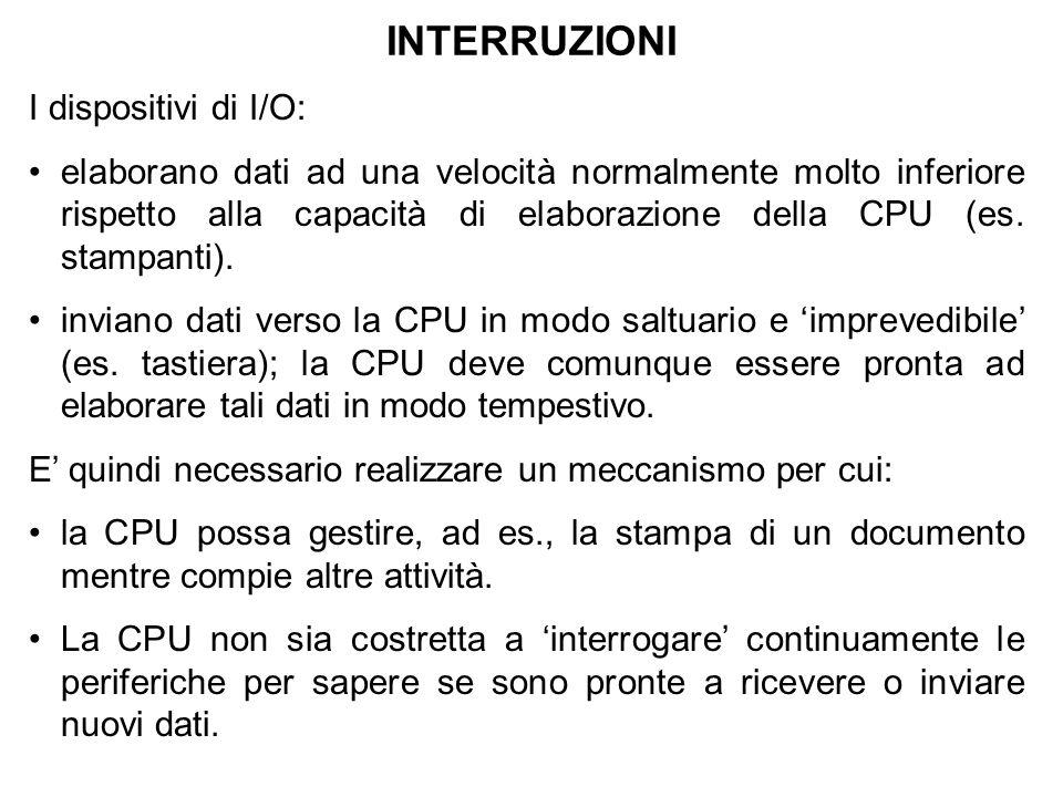 INTERRUZIONI I dispositivi di I/O: elaborano dati ad una velocità normalmente molto inferiore rispetto alla capacità di elaborazione della CPU (es. st