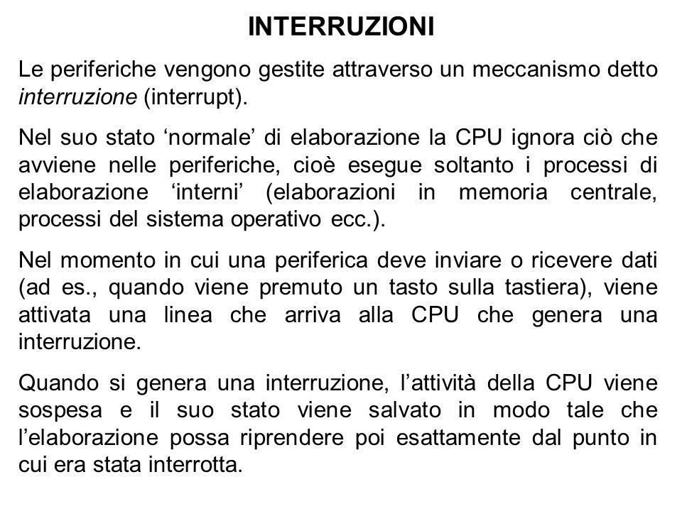 INTERRUZIONI Le periferiche vengono gestite attraverso un meccanismo detto interruzione (interrupt). Nel suo stato normale di elaborazione la CPU igno