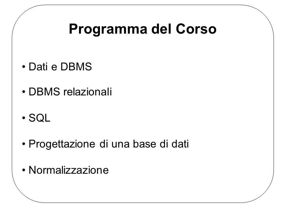 Testi Consigliati Atzeni, Ceri, Paraboschi, Torlone Basi di Dati: modelli e linguaggi di interrogazione, 2a ed.