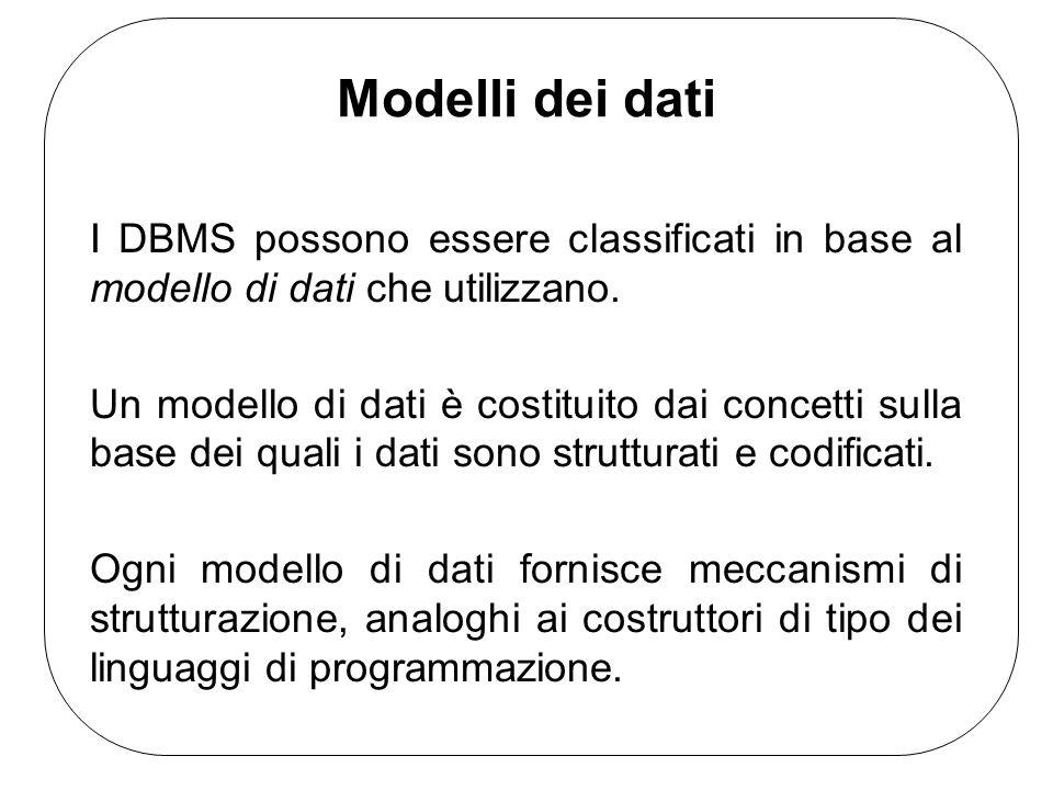 Modelli dei dati I DBMS possono essere classificati in base al modello di dati che utilizzano. Un modello di dati è costituito dai concetti sulla base