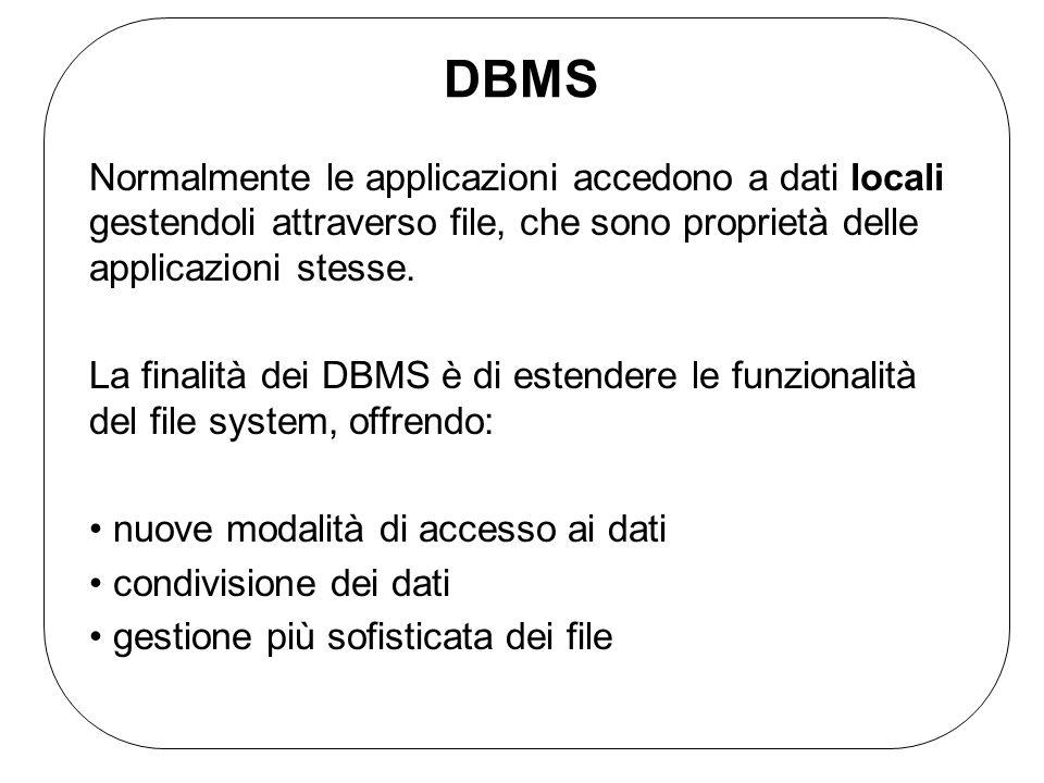 DBMS Le basi di dati gestite dai DBMS sono collezioni di dati: Grandi possono avere notevoli dimensioni (fino a migliaia di Gbyte) e devono quindi necessariamente risiedere nella memoria secondaria Condivise applicazioni ed utenti diversi devono potere accedere ai dati Persistenti Il tempo di vita dei dati va oltre la durata dellesecuzione delle singole applicazioni