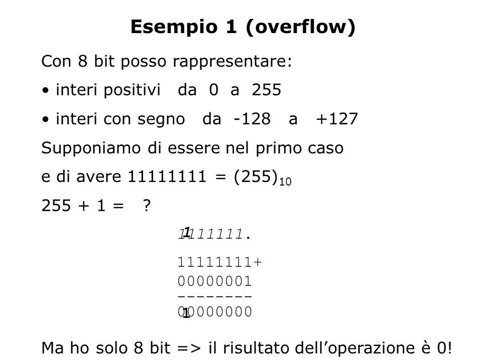 Esempio 1 (overflow) Con 8 bit posso rappresentare: interi positivi da 0 a 255 interi con segno da -128 a +127 Supponiamo di essere nel primo caso e d