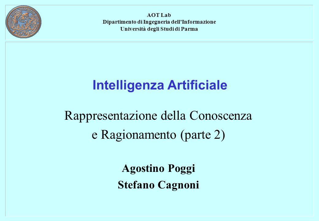 AOT Lab Dipartimento di Ingegneria dellInformazione Università degli Studi di Parma Intelligenza Artificiale Rappresentazione della Conoscenza e Ragionamento (parte 2) Agostino Poggi Stefano Cagnoni