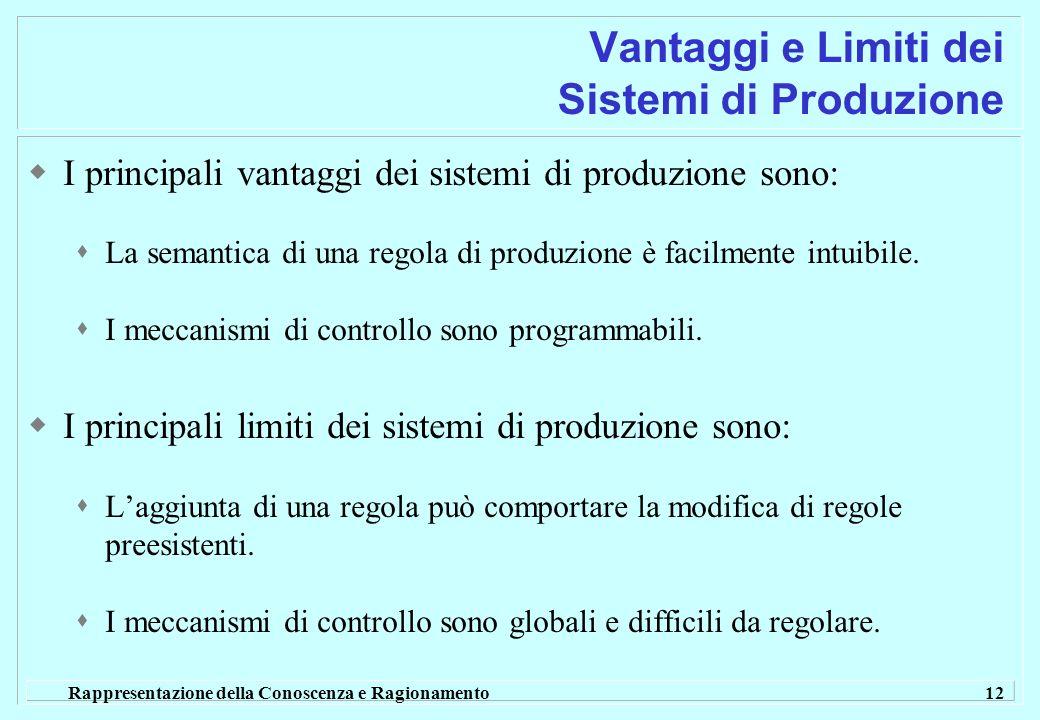 Rappresentazione della Conoscenza e Ragionamento 12 Vantaggi e Limiti dei Sistemi di Produzione I principali vantaggi dei sistemi di produzione sono: La semantica di una regola di produzione è facilmente intuibile.