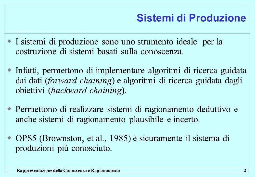 Rappresentazione della Conoscenza e Ragionamento 2 Sistemi di Produzione I sistemi di produzione sono uno strumento ideale per la costruzione di sistemi basati sulla conoscenza.