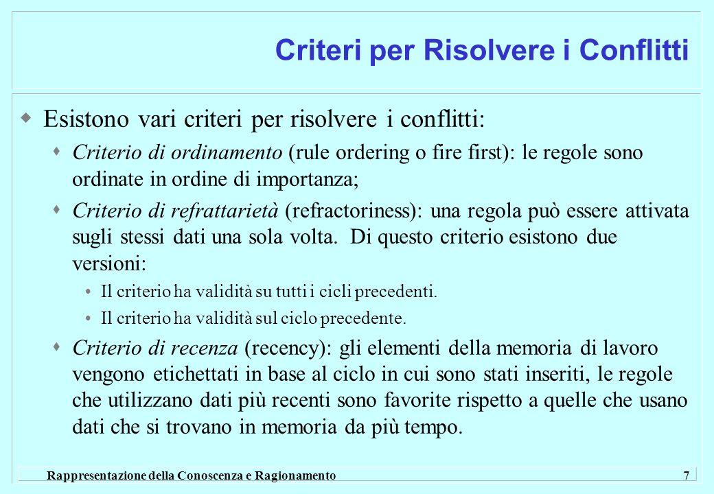 Rappresentazione della Conoscenza e Ragionamento 7 Criteri per Risolvere i Conflitti Esistono vari criteri per risolvere i conflitti: Criterio di ordinamento (rule ordering o fire first): le regole sono ordinate in ordine di importanza; Criterio di refrattarietà (refractoriness): una regola può essere attivata sugli stessi dati una sola volta.