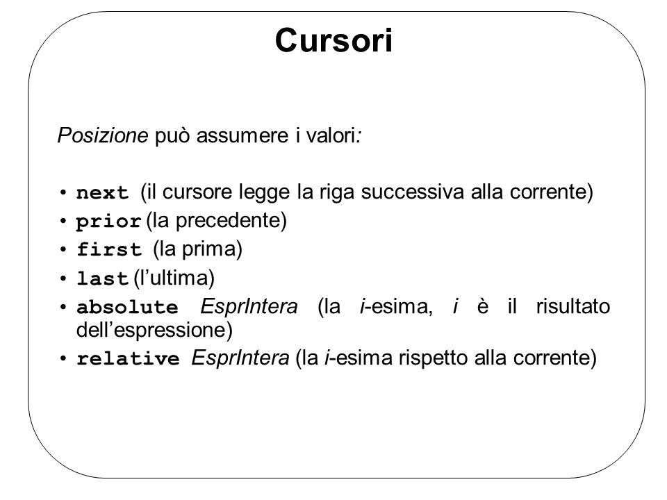 Cursori Posizione può assumere i valori: next (il cursore legge la riga successiva alla corrente) prior (la precedente) first (la prima) last (lultima) absolute EsprIntera (la i-esima, i è il risultato dellespressione) relative EsprIntera (la i-esima rispetto alla corrente)
