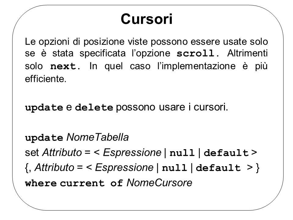 Cursori Le opzioni di posizione viste possono essere usate solo se è stata specificata lopzione scroll.
