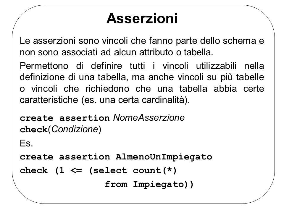 Asserzioni Le asserzioni sono vincoli che fanno parte dello schema e non sono associati ad alcun attributo o tabella.