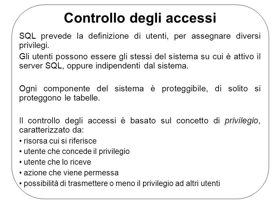 Controllo degli accessi SQL prevede la definizione di utenti, per assegnare diversi privilegi.