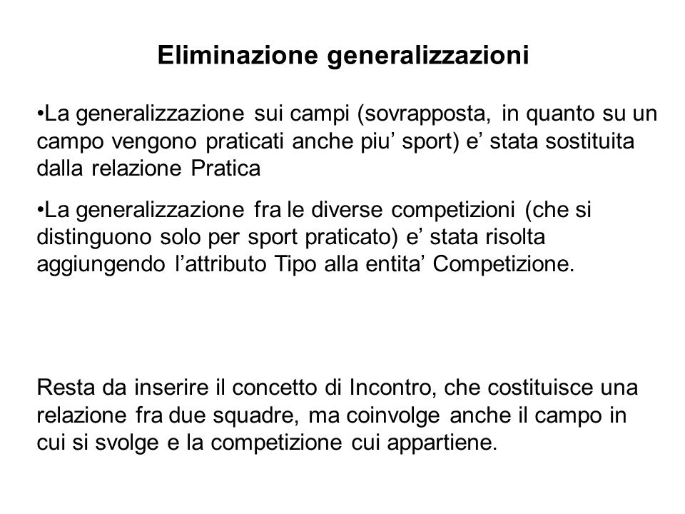 Eliminazione generalizzazioni La generalizzazione sui campi (sovrapposta, in quanto su un campo vengono praticati anche piu sport) e stata sostituita