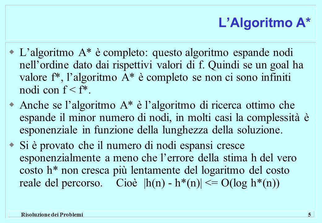 Risoluzione dei Problemi 5 LAlgoritmo A* Lalgoritmo A* è completo: questo algoritmo espande nodi nellordine dato dai rispettivi valori di f.