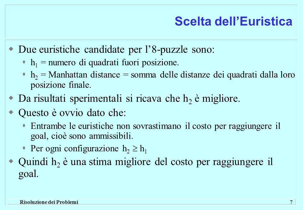 Risoluzione dei Problemi 7 Scelta dellEuristica Due euristiche candidate per l8-puzzle sono: h 1 = numero di quadrati fuori posizione.
