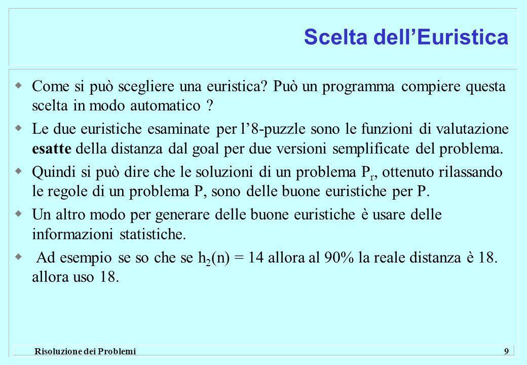 Risoluzione dei Problemi 9 Scelta dellEuristica Come si può scegliere una euristica.
