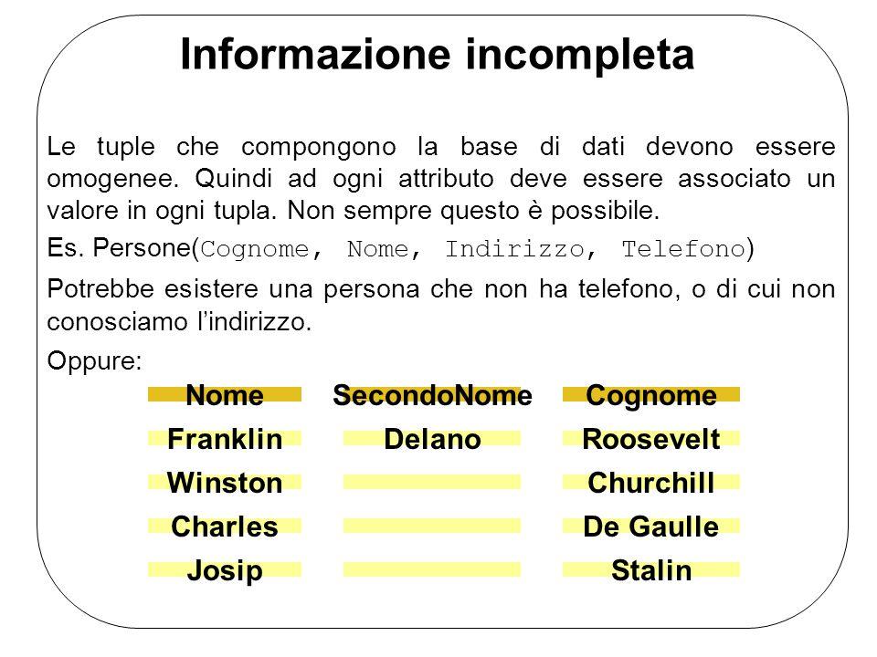 Informazione incompleta Le tuple che compongono la base di dati devono essere omogenee. Quindi ad ogni attributo deve essere associato un valore in og