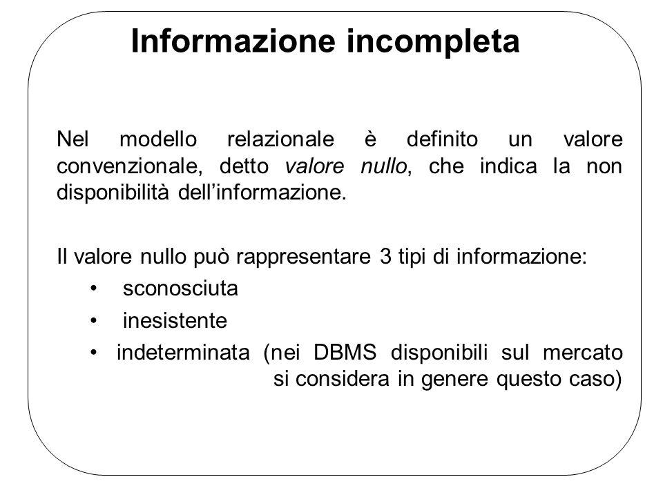 Informazione incompleta Nel modello relazionale è definito un valore convenzionale, detto valore nullo, che indica la non disponibilità dellinformazio