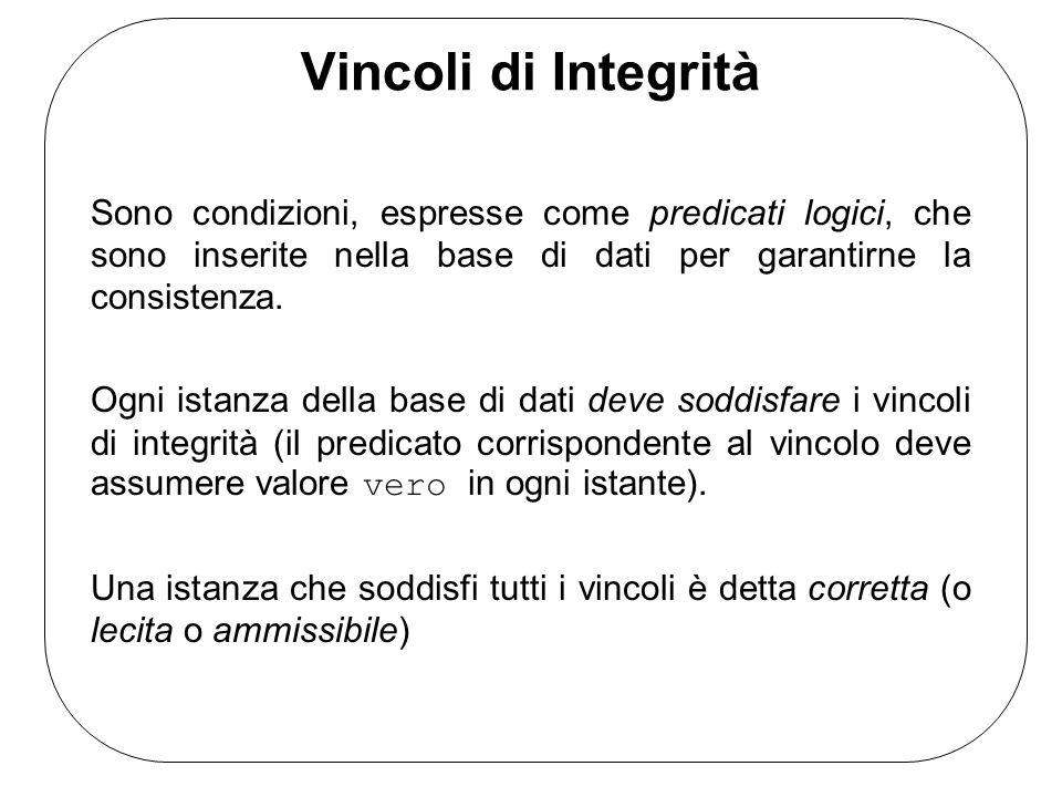 Vincoli di Integrità Sono condizioni, espresse come predicati logici, che sono inserite nella base di dati per garantirne la consistenza. Ogni istanza