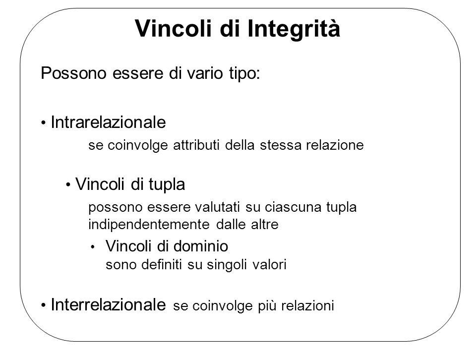 Vincoli di Integrità Possono essere di vario tipo: Intrarelazionale se coinvolge attributi della stessa relazione Vincoli di tupla possono essere valu