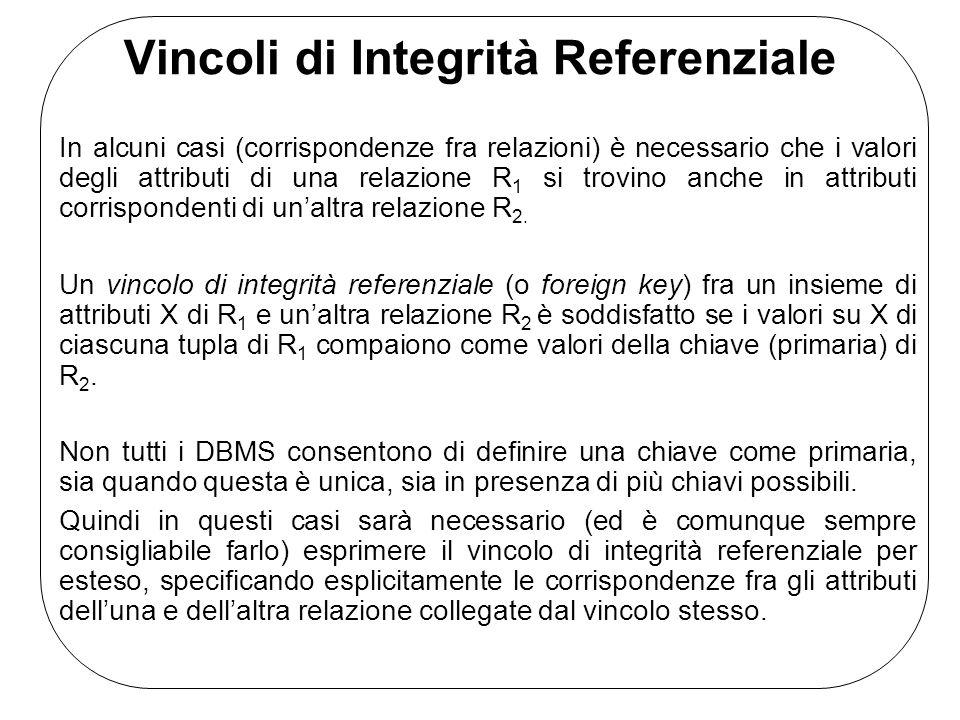 Vincoli di Integrità Referenziale In alcuni casi (corrispondenze fra relazioni) è necessario che i valori degli attributi di una relazione R 1 si trov