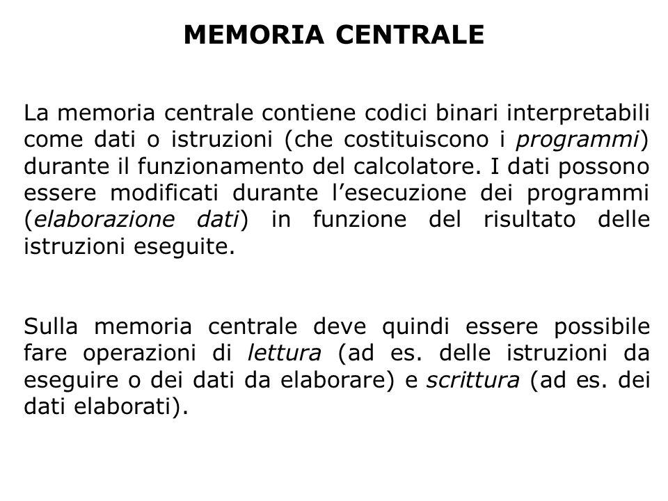 MEMORIA CENTRALE La memoria centrale contiene codici binari interpretabili come dati o istruzioni (che costituiscono i programmi) durante il funzionam
