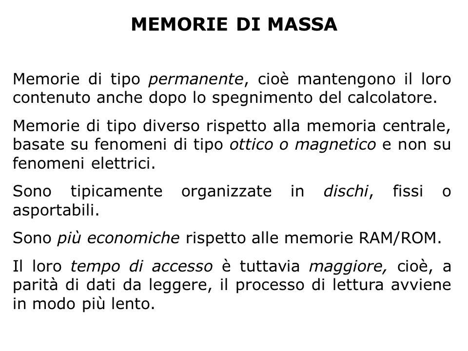 MEMORIE DI MASSA Memorie di tipo permanente, cioè mantengono il loro contenuto anche dopo lo spegnimento del calcolatore. Memorie di tipo diverso risp