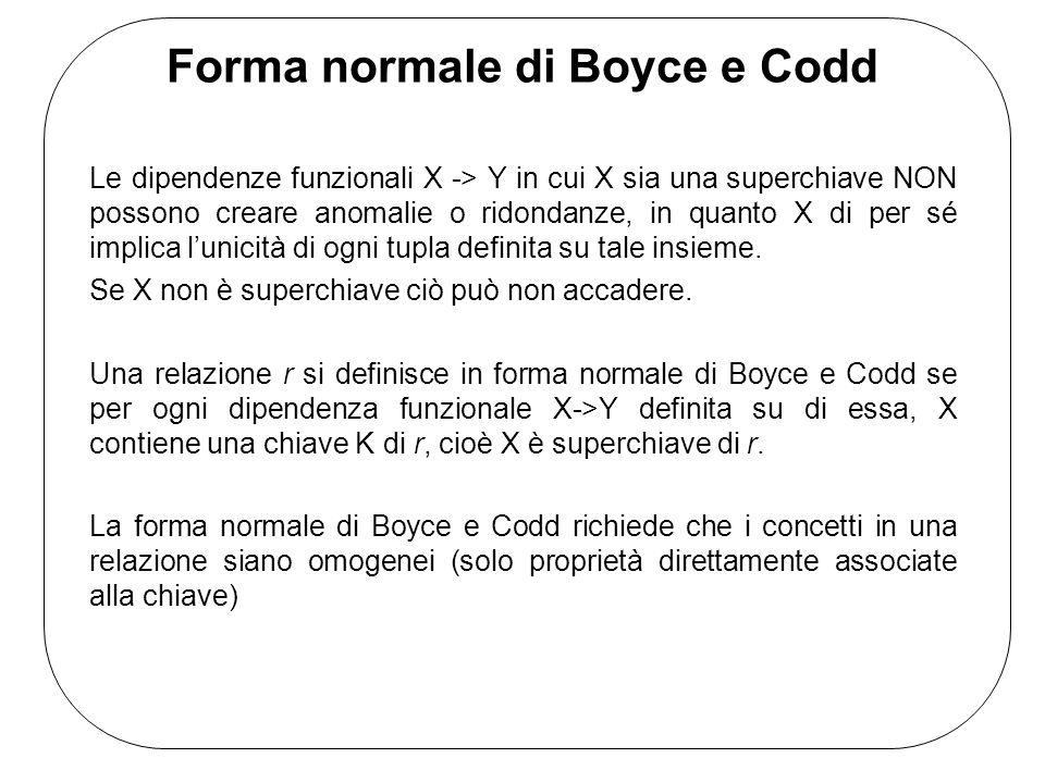 Forma normale di Boyce e Codd Le dipendenze funzionali X -> Y in cui X sia una superchiave NON possono creare anomalie o ridondanze, in quanto X di per sé implica lunicità di ogni tupla definita su tale insieme.